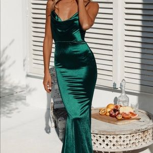 Emerald green satin mermaid gown prom dress
